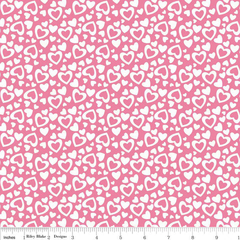Hearts Pink Valentine Holiday by Riley Blake Designs - White Love - Quilting Cotton Fabric - choose your cut