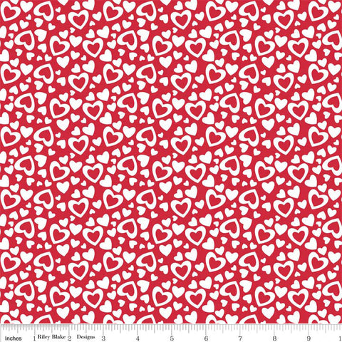 Hearts Red Valentine Holiday by Riley Blake Designs - White Love - Quilting Cotton Fabric - choose your cut