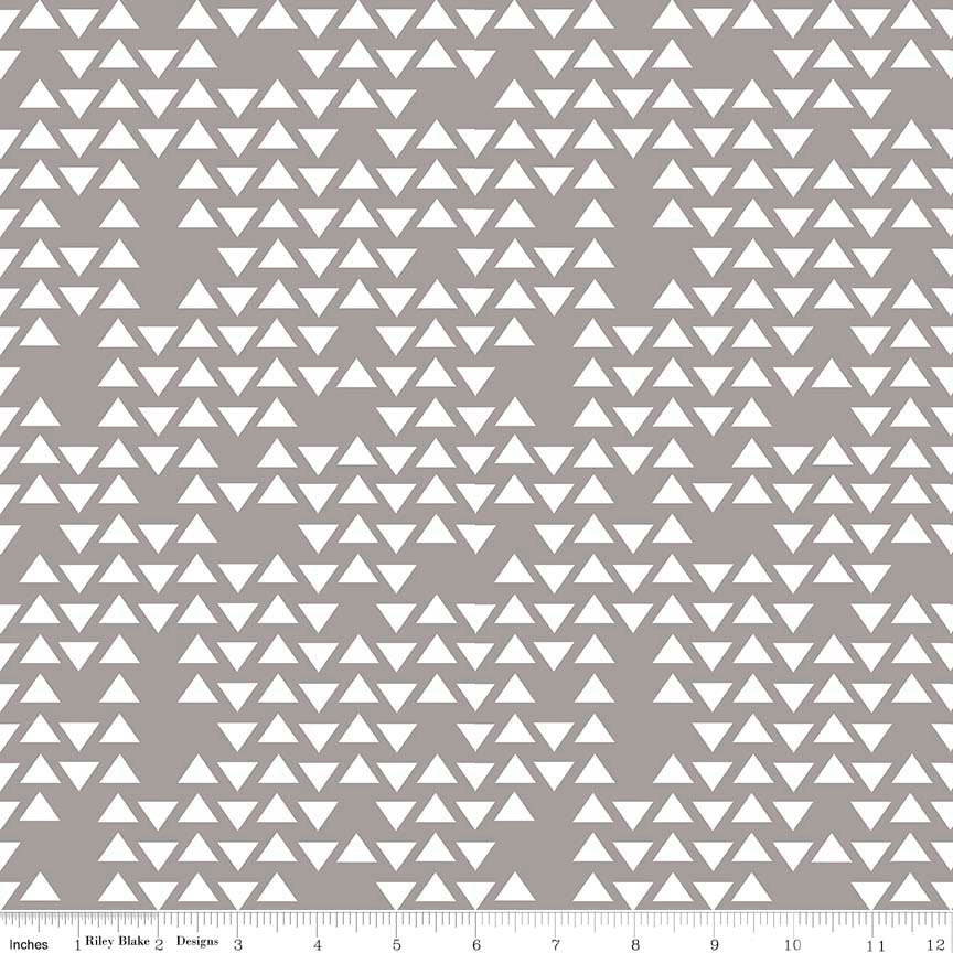 SALE By Popular Demand Triangles Gray white - Riley Blake Designs - Jersey KNIT cotton lycra  stretch fabric