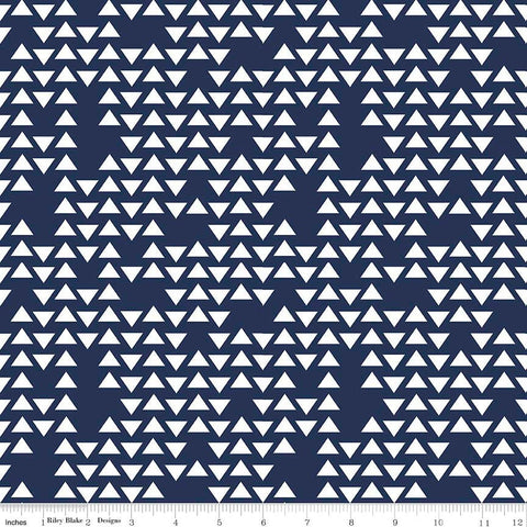 By Popular Demand Triangles Navy Blue white - Riley Blake Designs - Jersey KNIT cotton lycra  stretch fabric - choose your cut
