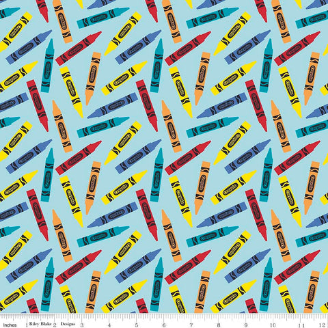 All About Crayola Crayons Blue - Riley Blake Designs - Jersey KNIT cotton lycra  stretch fabric