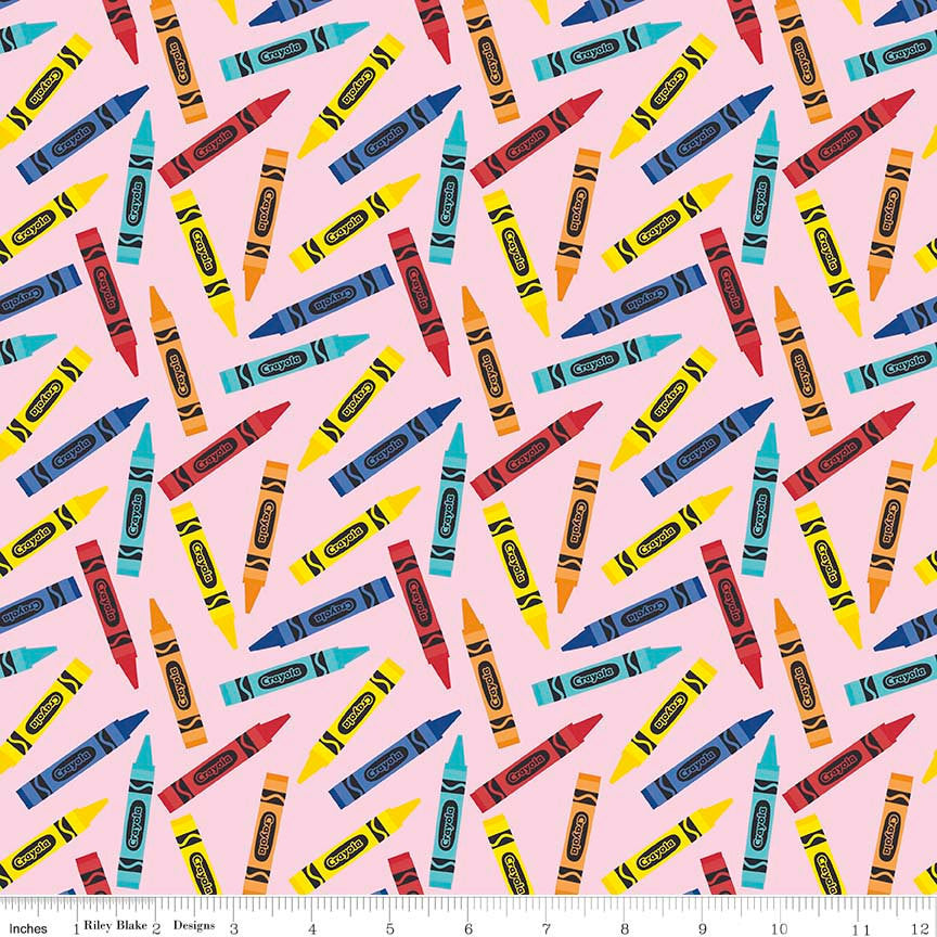 "CLEARANCE All About Crayola Crayons Pink - Riley Blake Designs - Jersey KNIT cotton lycra  stretch fabric - 1 Yard 20"" end of bolt"
