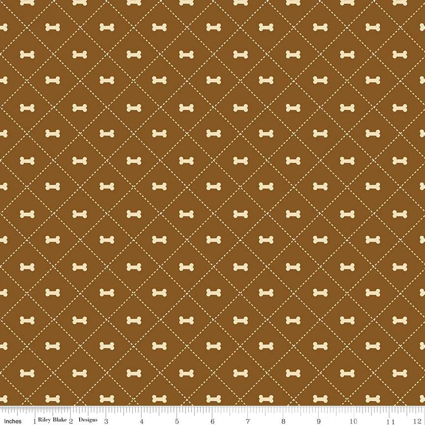 SALE Rover Bone Brown by Riley Blake Designs - Dog Cream Pet Puppy  - Quilting Cotton Fabric - choose your cut