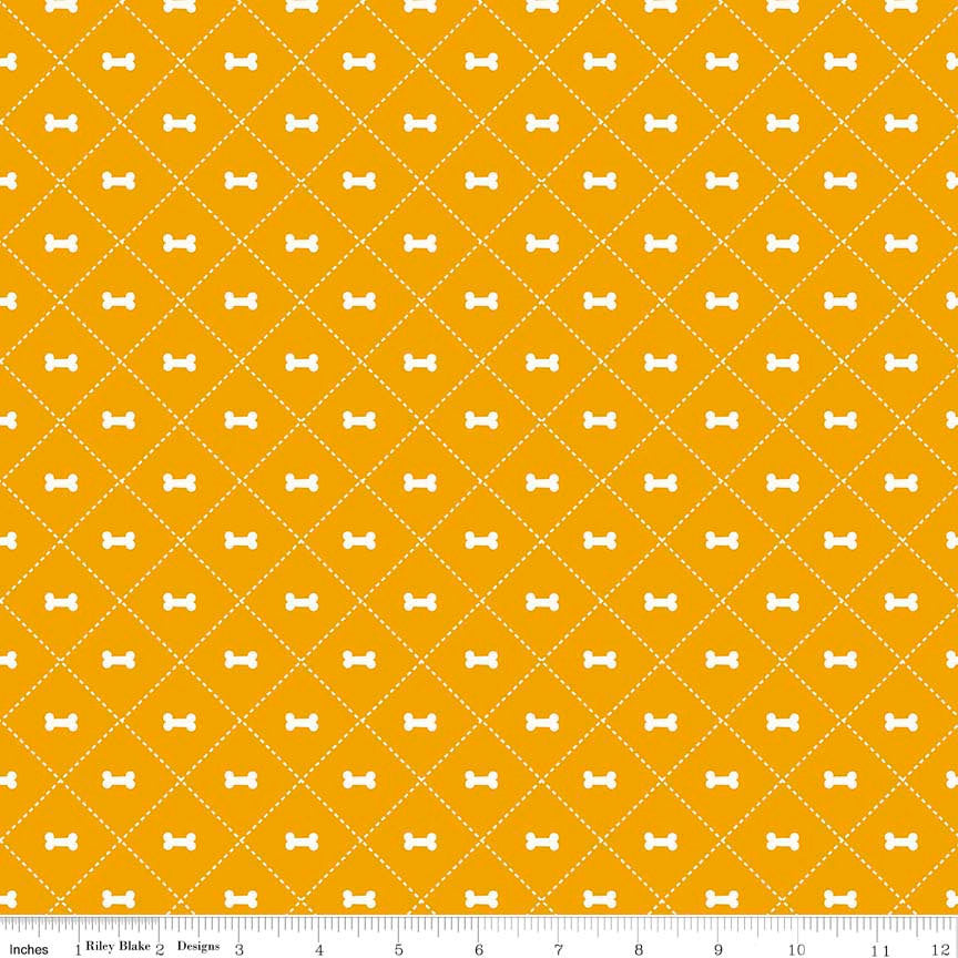 Rover Bone Orange by Riley Blake Designs - Dog Cream Pet Puppy  - Quilting Cotton Fabric - choose your cut