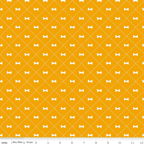 Rover Bone Orange by Riley Blake Designs - Dog Cream Pet Puppy  - Quilting Cotton Fabric