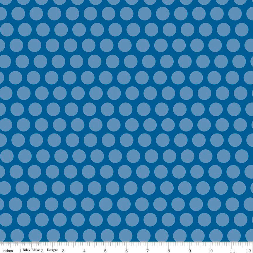 Rover Dot Blue by Riley Blake Designs - Dog Polka Dot - Quilting Cotton Fabric - choose your cut