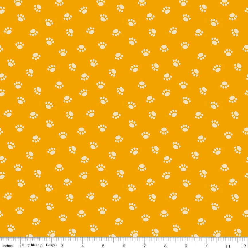 Rover Paw Orange by Riley Blake Designs - Dog Cream Pet Puppy Paws Prints - Quilting Cotton Fabric - choose your cut