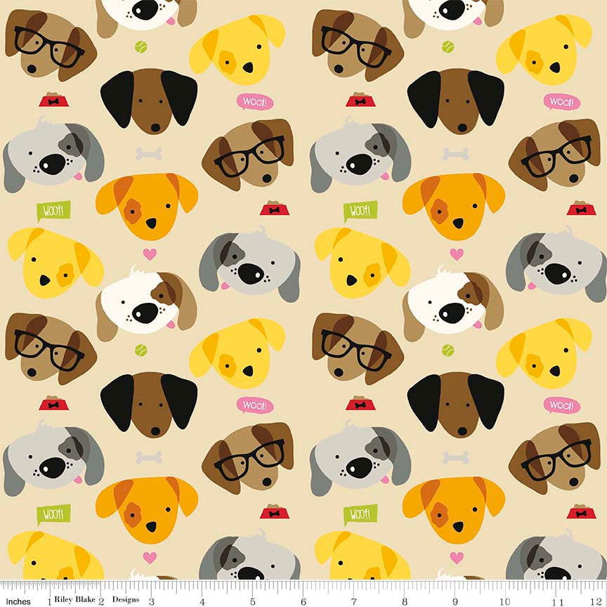 Rover Main Tan by Riley Blake Designs - Brown Dog Pet Puppy - Quilting Cotton Fabric