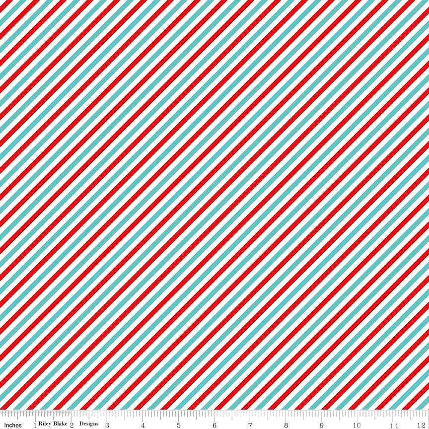 Pixie Noel Stripe Red by Riley Blake Designs - Aqua White Christmas Holiday - Quilting Cotton Fabric - choose your cut