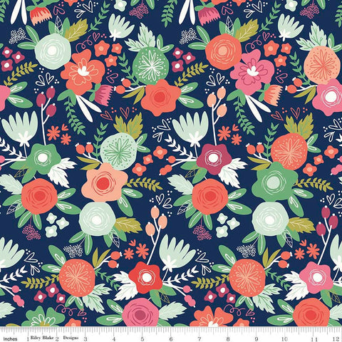 On Trend Main Navy - Riley Blake Designs - Blue Floral Flowers - Jersey KNIT cotton lycra stretch fabric