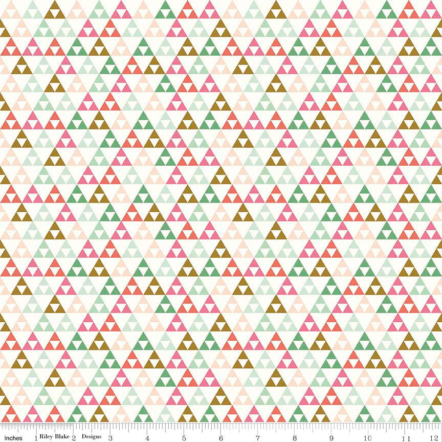 "SALE On Trend Triangle White - Riley Blake Designs - Pink Green - Jersey KNIT cotton lycra stretch fabric - 1 yard 30"" end of bolt piece"