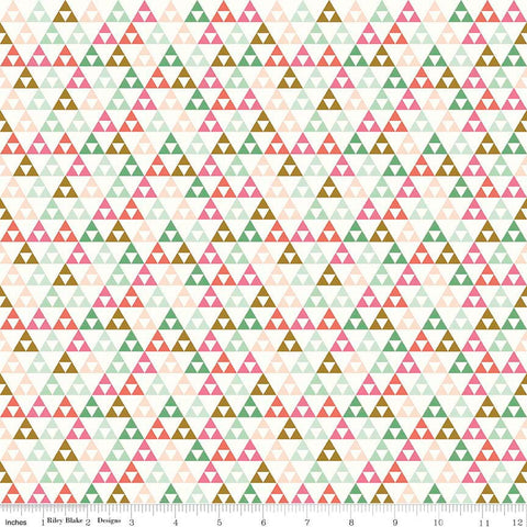 SALE On Trend Triangle White - Riley Blake Designs - Pink Green - Jersey KNIT cotton lycra stretch fabric