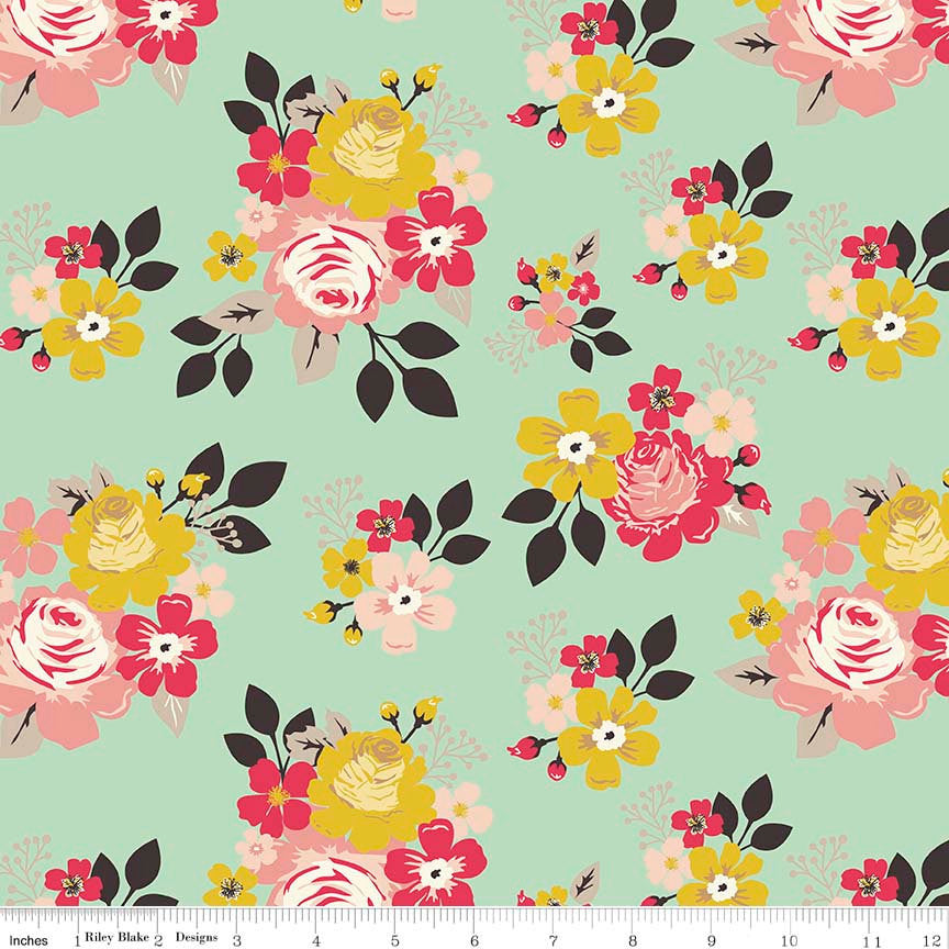 Vintage Daydream Main Mint - Riley Blake Designs - Floral Flowers - Jersey KNIT cotton lycra stretch fabric