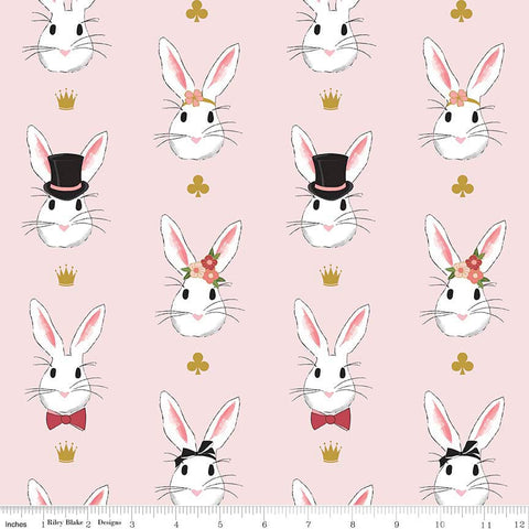 Wonderland 2 - Main Pink SPARKLE - Riley Blake Designs - Gold Metallic Bunny - Quilting Cotton Fabric - choose your cut