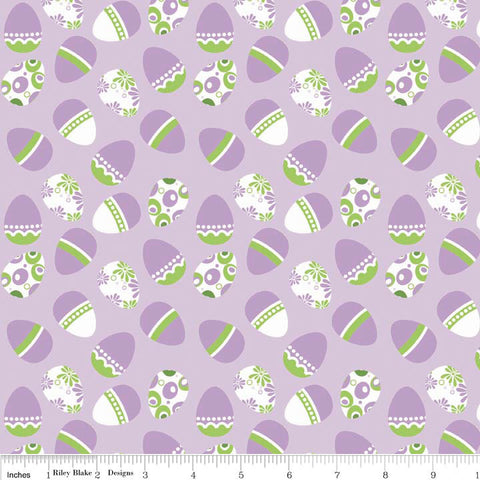 SALE Easter Eggs Purple Holiday Banners by Riley Blake Designs - Green - Quilting Cotton Fabric - choose your cut