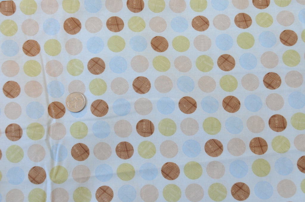 PRE WASHED CLEARANCE A Beautiful Day - Henry Glass - Blue Brown Polka Dot - Quilting Cotton Fabric