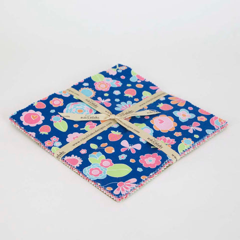 "Flutterberry Layer Cake 10"" Stacker Bundle by Riley Blake Designs - 18 piece Precut - Floral Strawberry - Quilting Cotton Fabric"