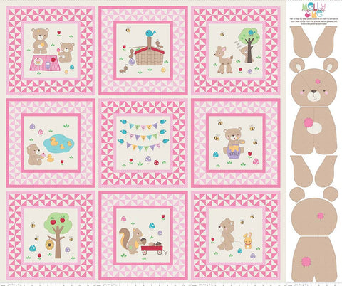 Teddy Bear Picnic PANEL Pink by Riley Blake Designs - Baby Girl Blocks Sewing Project Nursery Stuffed Animal- Quilting Cotton Fabric