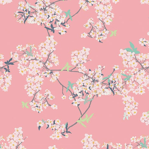 Yinghua Cherrylight - Pandalicious - Art Gallery - Floral pink - Jersey KNIT cotton lycra stretch fabric