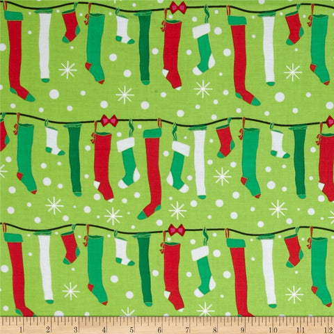 All the Trimmings Stuff the Stockings Garland - Michael Miller - Green Holiday - Cotton Woven Quilt Fabric