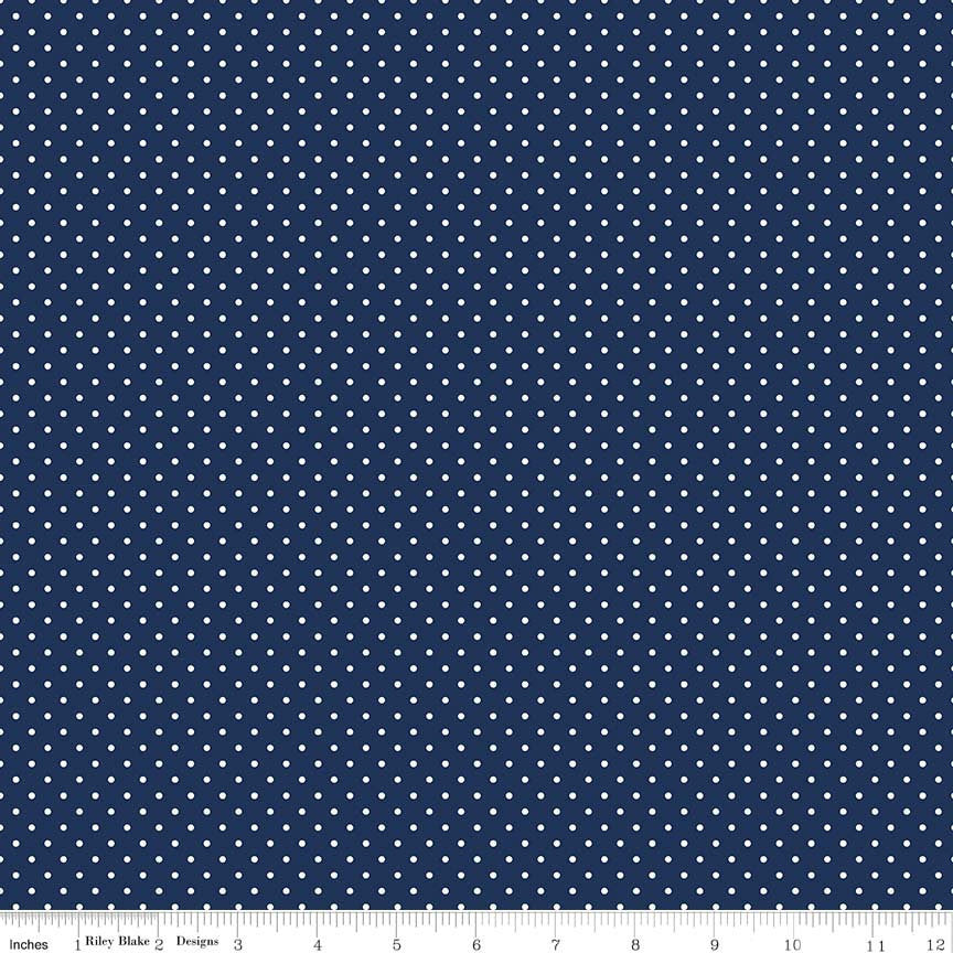 White on Navy Swiss Dots by Riley Blake Designs - Blue Polka Dot - Quilting Cotton Fabric