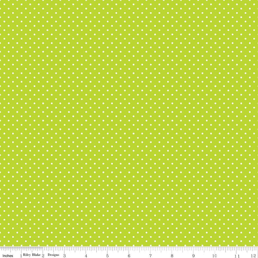 SALE White on Lime Swiss Dots by Riley Blake Designs - Green Polka Dot - Quilting Cotton Fabric