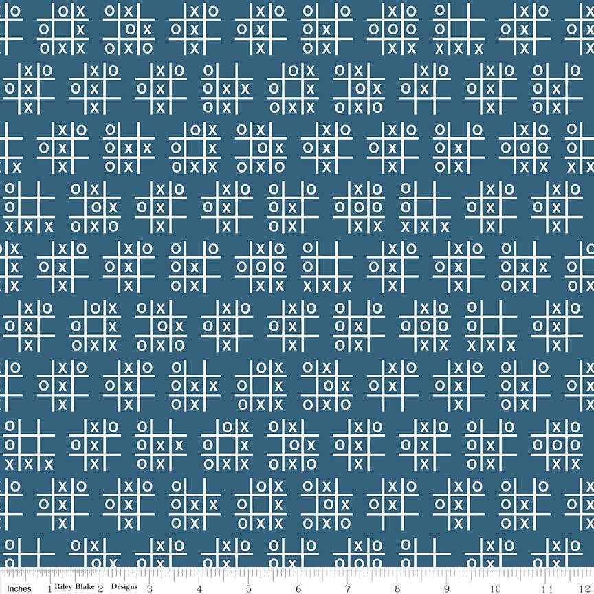 SALE Novelty Tic Tac Toe Blue by Riley Blake Designs - Games White - Quilting Cotton Fabric - choose your cut