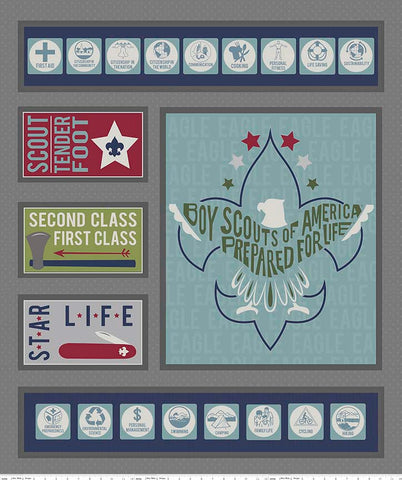 SALE Modern Scouting Panel Gray by Riley Blake Designs - Boy Scouts Eagle - Quilting Cotton Fabric
