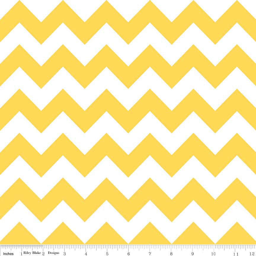 Yellow and White Medium Chevron by Riley Blake Designs - Quilting Cotton Fabric