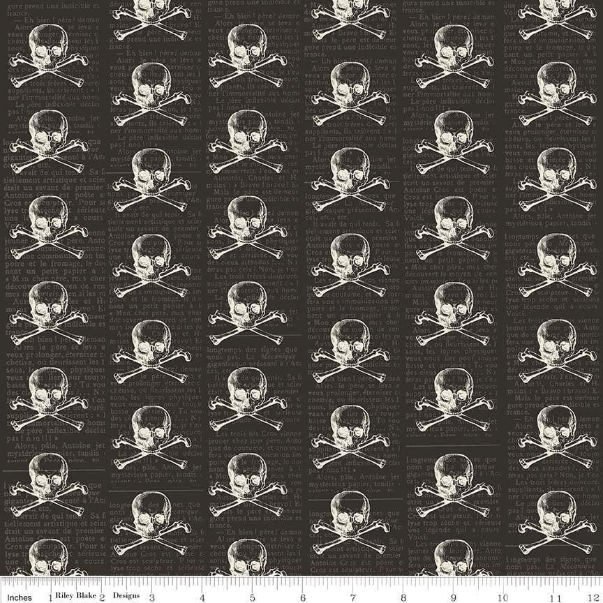 SALE Lost and Found Halloween Skulls Black - Riley Blake Designs - Skull and Crossbones - Quilting Cotton Fabric - choose your cut