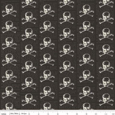 SALE Lost and Found Halloween Skulls Black - Riley Blake Designs - Skull and Crossbones - Quilting Cotton Fabric