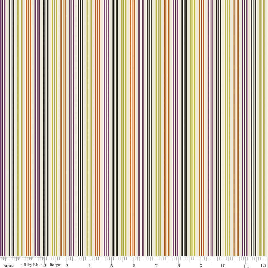 Lost and Found Halloween Stripe Multi - Riley Blake Designs - Black Orange Purple - Quilting Cotton Fabric - choose your cut