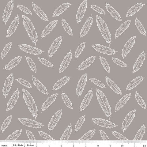"By Popular Demand Feathers Gray white - Riley Blake Designs - Jersey KNIT cotton lycra  stretch fabric - 24"" end of bolt"