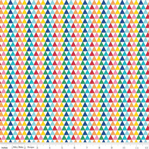 All About Crayola Triangles Multi Rainbow - Riley Blake Designs - Jersey KNIT cotton lycra  stretch fabric