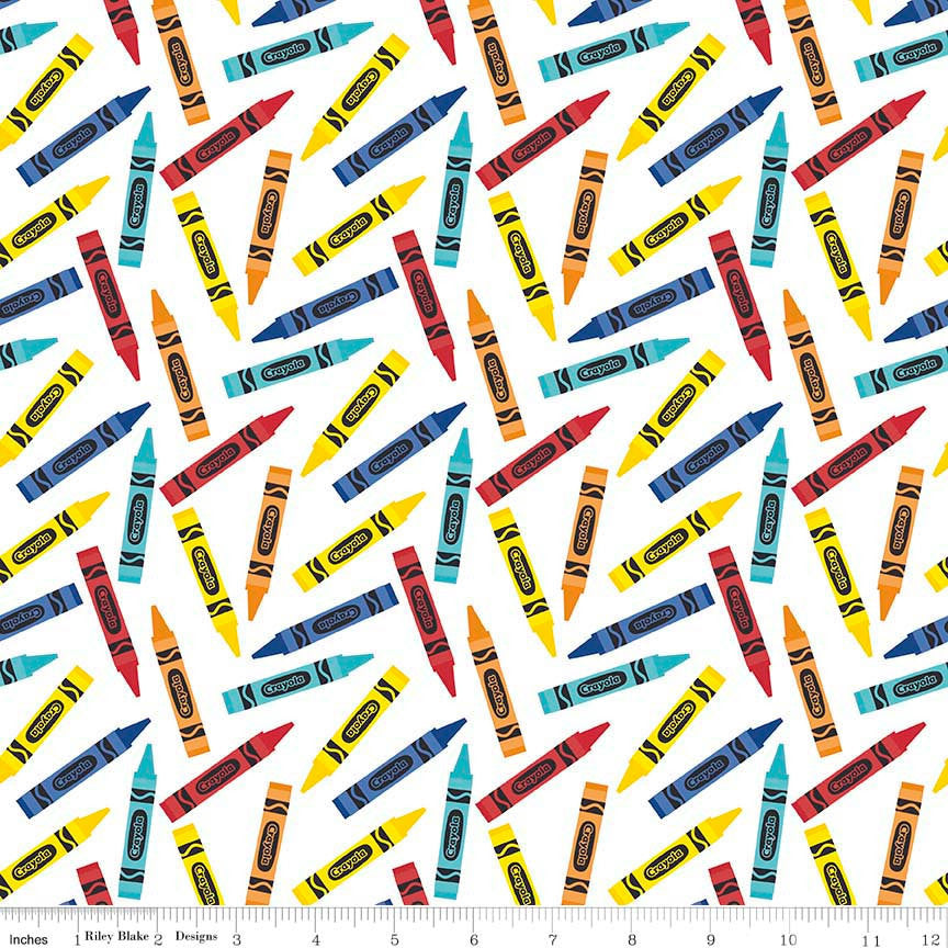 SALE All About Crayola Crayons White Rainbow - Riley Blake Designs - Jersey KNIT cotton lycra  stretch fabric - end of bolt pieces