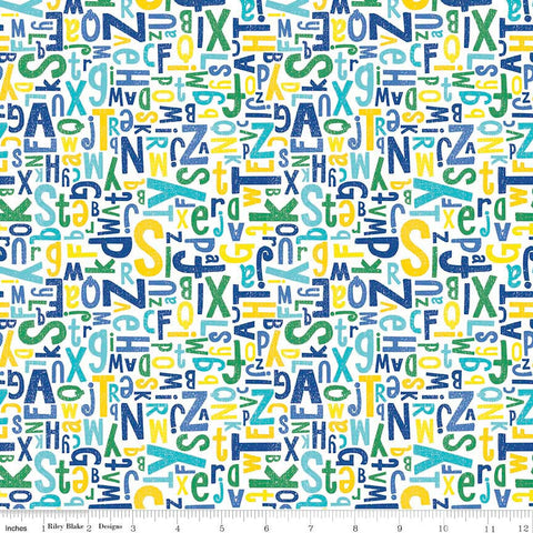 All About Crayola Alphabet Blue - Riley Blake Designs - Jersey KNIT cotton lycra  stretch fabric