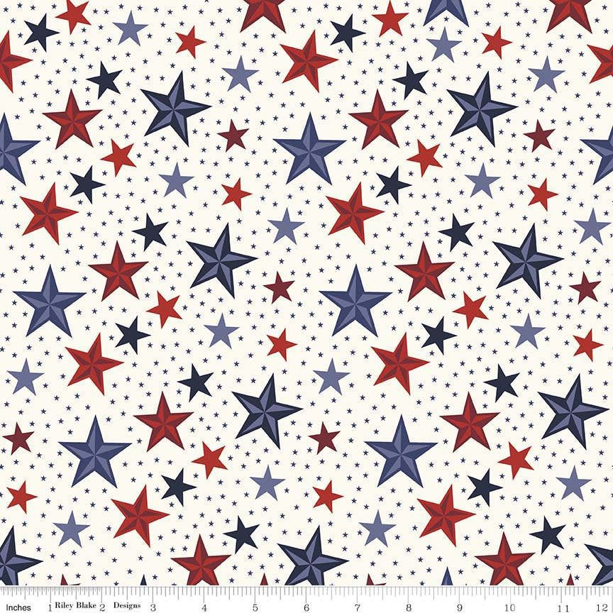 SALE Lost and Found Americana Stars Cream - Riley Blake Designs - Patriotic USA - Quilting Cotton Fabric