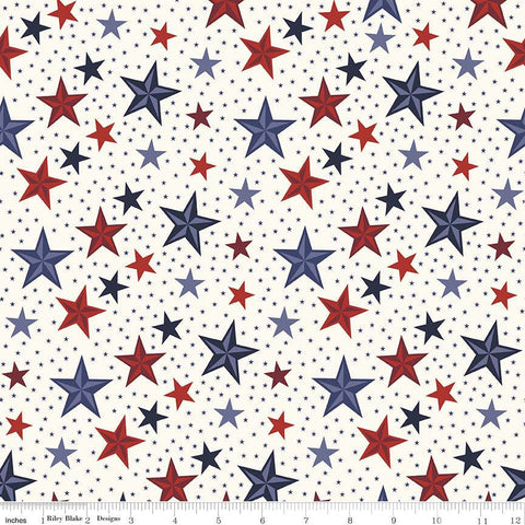 Lost and Found Americana Stars Cream - Riley Blake Designs - Patriotic USA - Quilting Cotton Fabric
