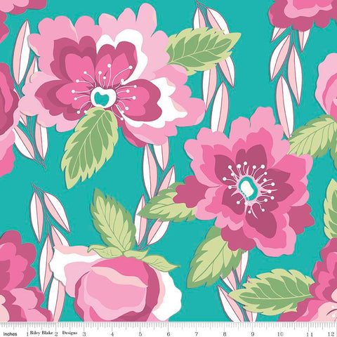 "Blossoms Teal by Riley Blake Designs - Pink Floral Flowers - Jersey KNIT cotton lycra stretch fabric - 17"" end of bolt"