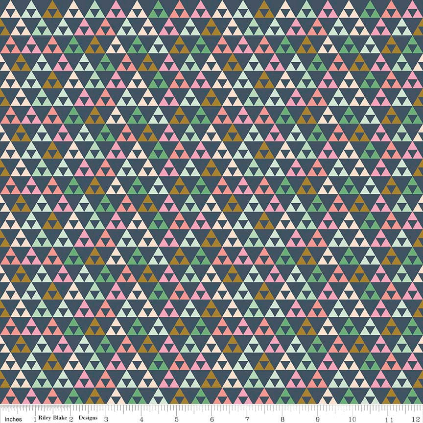SALE On Trend Triangle Navy - Riley Blake Designs - Blue Pink Green - Jersey KNIT cotton lycra stretch fabric - choose your cut