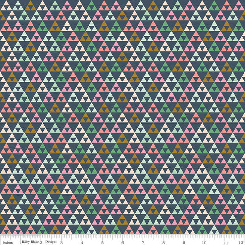 CLEARANCE On Trend Triangle Navy - Riley Blake Designs - Blue Pink Green - Jersey KNIT cotton lycra stretch fabric - by the yard