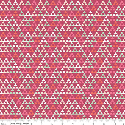 "SALE On Trend Triangle Raspberry - Riley Blake Designs - Pink - Jersey KNIT cotton lycra stretch fabric - 1 yard 21"" end of bolt"