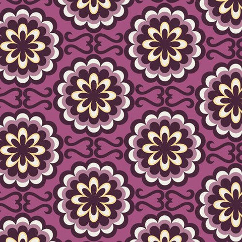 "Bespoken Fancy Buttons Purple - Art Gallery - Floral - Quilting Cotton Fabric - 1 yard 23"" end of bolt piece"