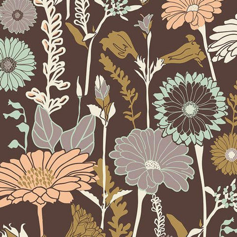 CLEARANCE Cultivate Flower Field Soil - Art Gallery - Brown Floral - Quilting Cotton Fabric - by the yard