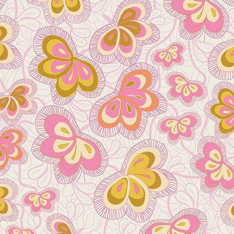 SALE Fantasia Magicfly's Nest Charm - Art Gallery - Pink Butterfly Butterflies - Quilting Cotton Fabric
