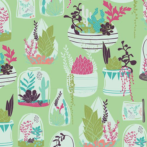 SALE Succulence Habitat Lucious - Art Gallery - Floral Flower Pots Garden Green - Quilting Cotton Fabric - choose your cut