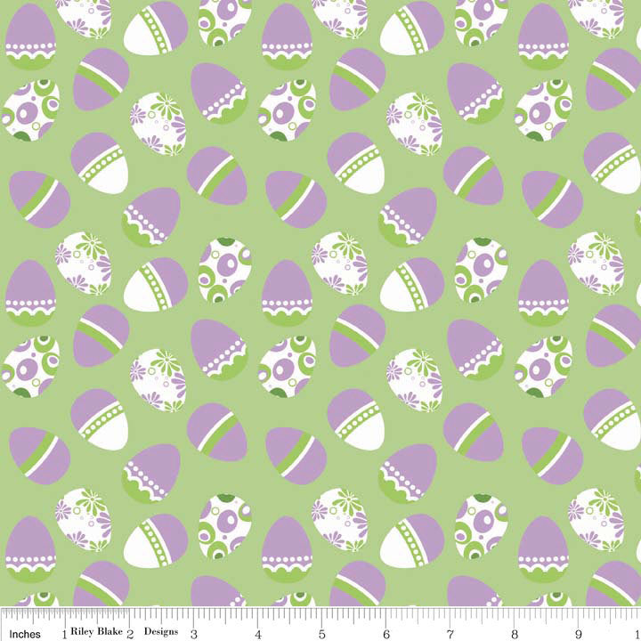 SALE Easter Eggs Green Holiday Banners by Riley Blake Designs - Purple - Quilting Cotton Fabric - choose your cut