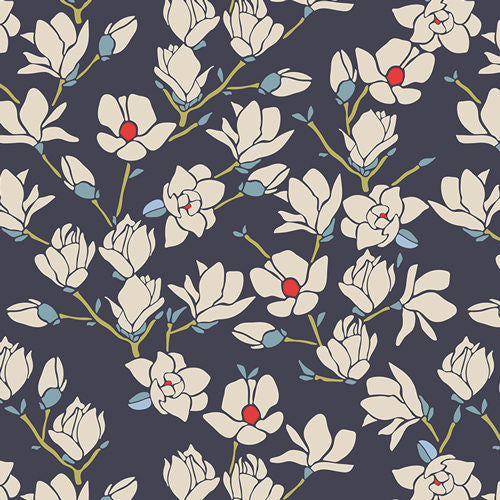 SALE Charleston Magnolia Nightfall - Art Gallery - Navy Floral Flowers - Jersey KNIT cotton lycra stretch fabric