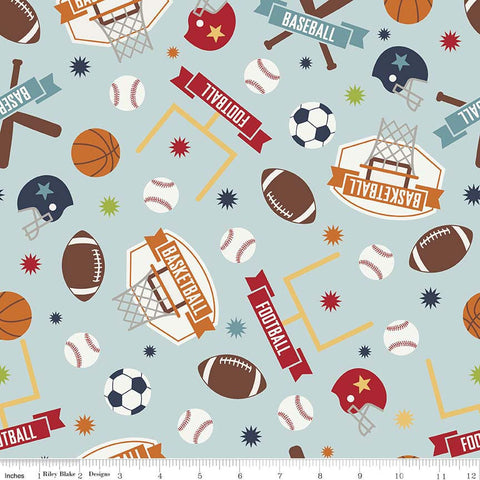 SALE Game Day Sports Main Aqua - Riley Blake Designs - Basketball Football Soccer Baseball- Quilting Cotton Fabric - choose your cut