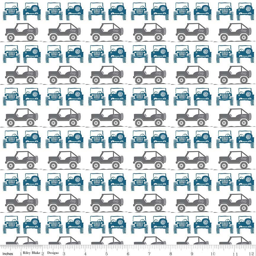 J is for Jeep Boy Jeeps Gray - Riley Blake Designs - Blue Grey Trucks Cars White - Quilting Cotton Fabric - choose your cut